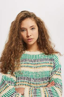 Topshop Checked Crop Jumper