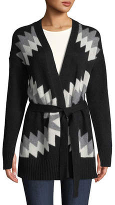 360 Sweater 360Sweater Moxie Belted Zigzag & Skull Intarsia Wool-Cashmere Cardigan