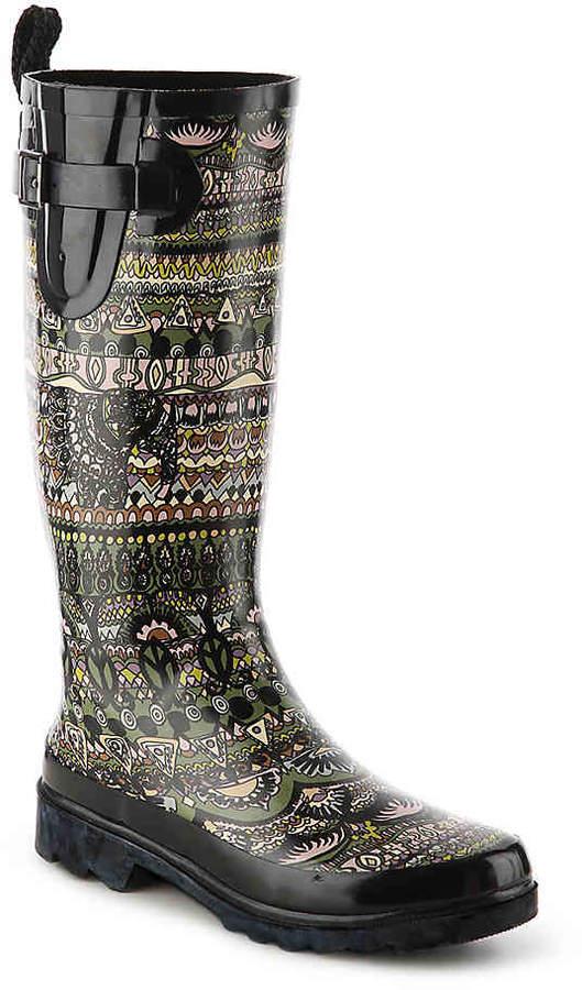 Women's Rhythm Print Rain Boot -Black/Multicolor