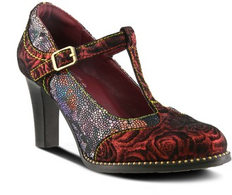 Spring Step L'Artiste T-Strap Metallic Leather Printed Pumps - Mazie