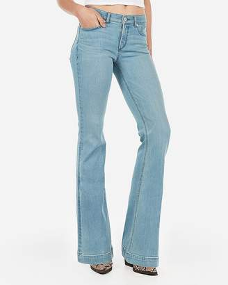 Express Mid Rise Denim Perfect Lift Light Wash Bell Flare Jeans