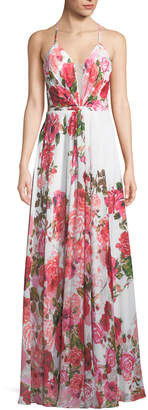 LM Collection Floral-Print Illusion Sweetheart Dress, White/Pink