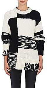 Spencer Vladimir Women's Appliquéd Colorblocked Cashmere-Silk Sweater - Wht.&blk.
