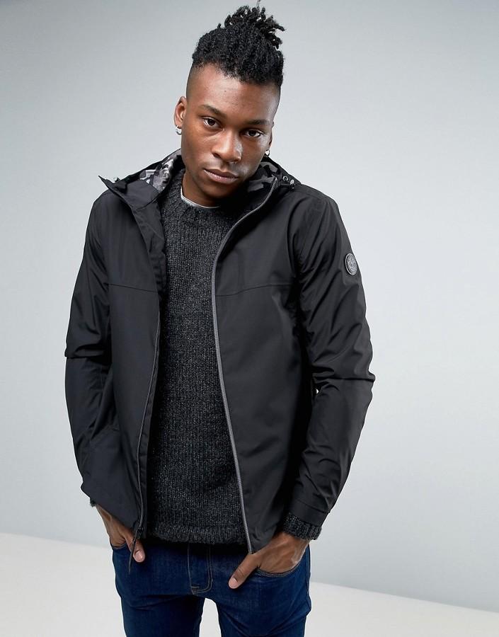 TimberlandTimberland Hooded Shell Rain Jacket Slim Fit in Black