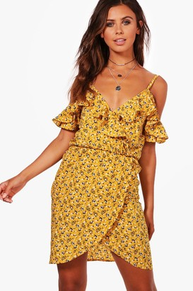 boohoo Petite Ruffle Floral Wrap Tea Dress