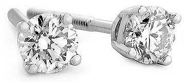 1/3 Carat Diamond Stud Earrings 14k White Gold
