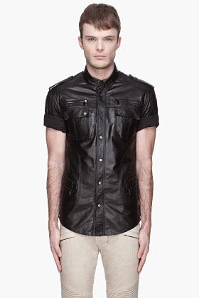 Balmain Black bufffed calf leather Shirt