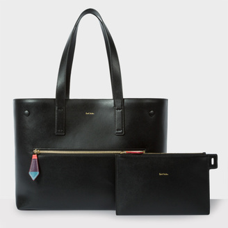 Women's Black Leather Tote With Removable Wallet And 'Artist Stripe' Lining $995 thestylecure.com
