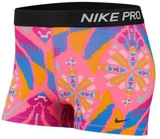 "Nike Womens Pro Printed 3"" Training Short - Pink"