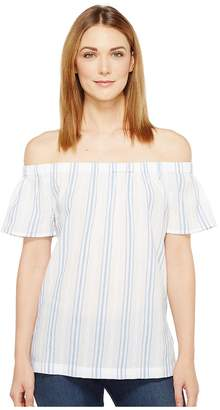 Vince Camuto Off the Shoulder Stripe Seersucker Side Slit Tunic Women's Short Sleeve Pullover