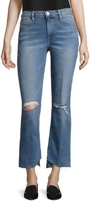 Peserico Women's Le Distressed Asymmetric Hem Jeans - Oakdale Blue, Size 29 (6-8)