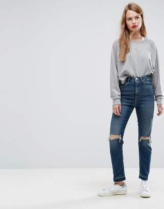 Asos DESIGN FARLEIGH High Waist Slim Mom Jeans in Sonnet Aged Vintage Dark Wash with Busts and Cinch Back