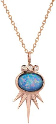 Celine Daoust Opal Oval Sun and Diamond Tube Necklace