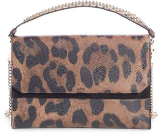 Christian Louboutin Loubiblues Leopard Print Calfskin Leather Clutch
