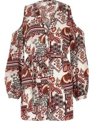 River IslandRiver Island Womens Red geo floral print cold shoulder playsuit
