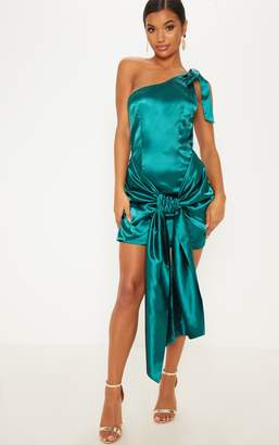 PrettyLittleThing Emerald Green Satin One Shoulder Knot Detail Bodycon Dress 650d99be1