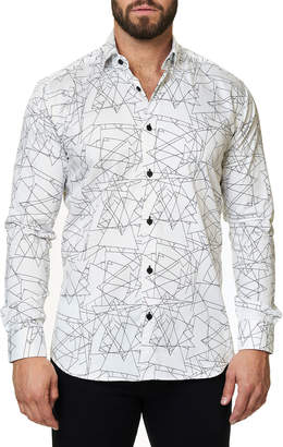 Maceoo Shaped-Fit Luxor Geometric Triangle Sport Shirt