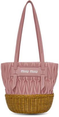 Miu Miu Pink Matelasse Logo Tote