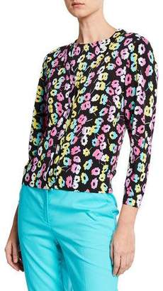 Escada Daisy-Print V-Neck Button-Front Cardigan