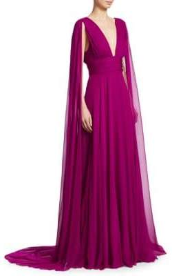Monique Lhuillier Silk Chiffon V-Neck Gown