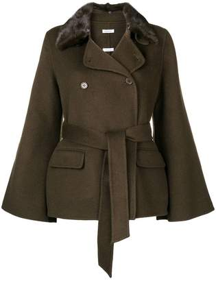 P.A.R.O.S.H. fur collar double-breasted jacket