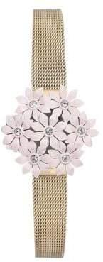 Anne Klein Stainless Steel Floral Bracelet Watch