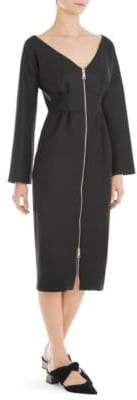 Sara Battaglia Long-Sleeve Zip-Front Sheath Dress