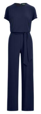 Ralph Lauren Jersey Wide-Leg Jumpsuit Rl Navy Lp