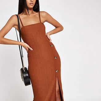 River Island Rust button detail slip midi dress