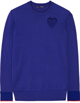 Proenza Schouler - Cutout Cotton-blend Sweater - Royal blue $595 thestylecure.com