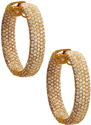 Diana M. Jewels 18k Yellow Gold Pave Diamond Hoop Earrings