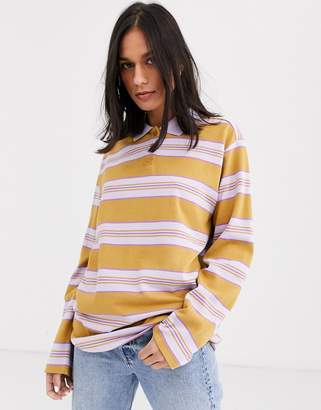 Monki striped long sleeve rugby top in beige and purple