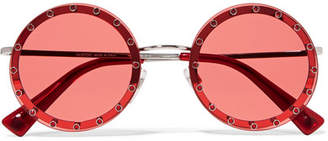 Valentino Crystal-embellished Round-frame Acetate Sunglasses - Red