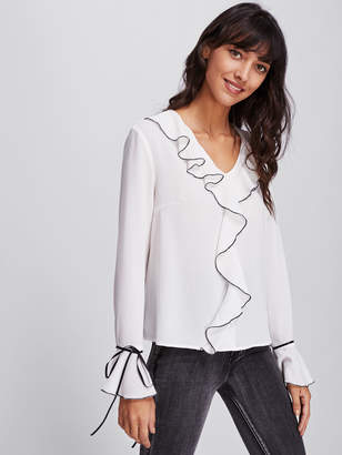 Shein Ruffle Neckline And Cuff Blouse