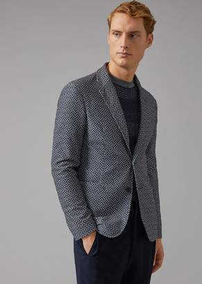 Giorgio Armani Soft Technical Fabric Jacket With Printed Mesh Effect