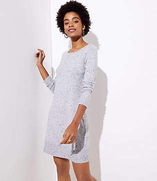 0d39da4016c at LOFT · LOFT Petite Flecked Cutout Back Sweater Dress