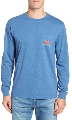 Vineyard Vines Football Whale Long Sleeve Pocket T-Shirt