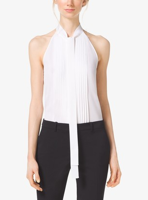 Michael Kors Pleated Tie-Neck Silk-Georgette Top