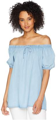 Chaps Chambray Off-the-Shoulder Top Women's Blouse