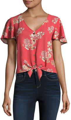 Arizona Short Sleeve V Neck Woven Floral Blouse-Juniors