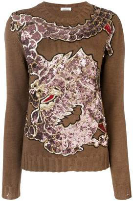 P.A.R.O.S.H. dragon sequin embroidered jumper