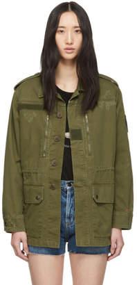 Saint Laurent Khaki Patch Military Jacket
