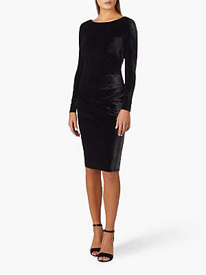 Pure Collection Velour V Back Dress, Black