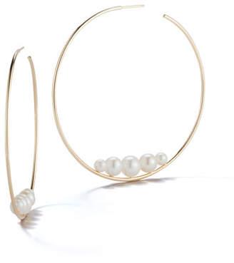 At Neiman Marcus Mizuki 14k Floating Five Pearl Hoop Earrings