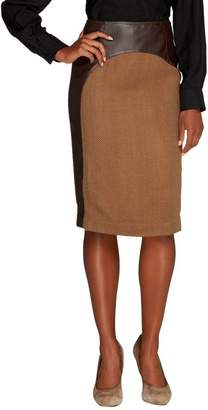 Mark Of Style By Mark Zunino Mark of Style by Mark Zunino Faux Leather Skirt with Fabric Inset