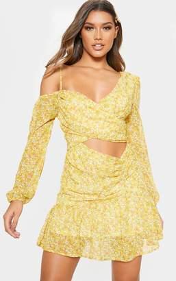 PrettyLittleThing Lemon Floral Print Chiffon Cut Out Skater Dress