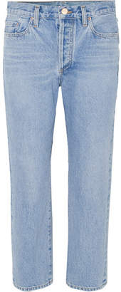 Gold Sign The Low Slung Cropped Mid-rise Straight-leg Jeans - Mid denim