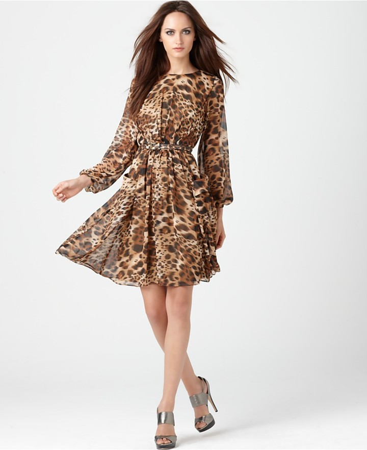Miss Sixty Dress, Long Sleeve Belted Leopard Printed Chiffon Flared Belted