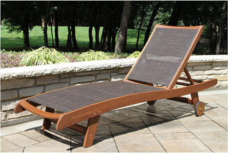 Outdoor Interiors Sling & Brazilian Eucalyptus Chaise Lounger Set Of 2