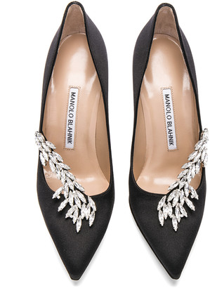 Manolo Blahnik Satin Nadira Heels in Black | FWRD